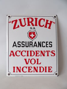 "Enamelled advertising sign ""Zürich S.A. Assurance"" - Circa 1935"