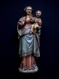 Antique polychrome wooden Saints statue - Mary with Child Jesus - Flanders- 2nd half of the 18th century or 1st half of the 19th century.