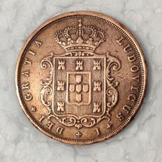 Portugal -- Monarchy -- D. Luis I -- XX Reis -- 1870 -- Bronze -- Rare in this condition -- The rarest in the series