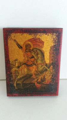 Greek icon on wood: George and the Dragon