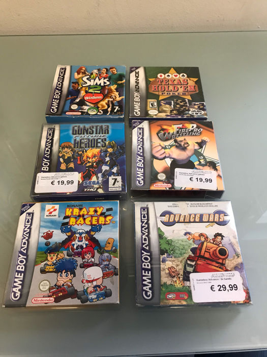 6 boxed GBA games boxed. Games like Advance Wars , Krazy Racers and more