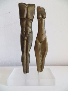 Bronze sculpture of male and female nude