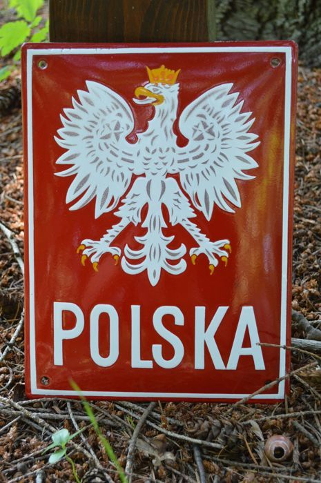 Rare Polish Border Sign - enamel sign, late 20th Century