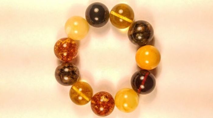 Round beads modified Baltic Amber mix colour bracelet