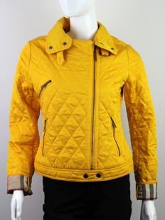 Burberry Yellow Quilted Biker Jacket With Nova Check Cuffs