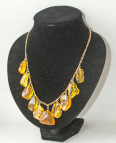 Vintage Baltic Amber necklace with silver clasp, in butterscotch, honey colour, 45 gr.