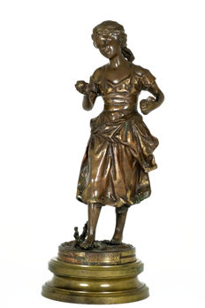 Ernest Rancoulet (1870-1915) - bronze sculpture of a lady with fruit entitled 'Fruit Defendu' - France - approx.. 1900