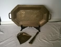 Solid copper very large bronze/copper serving tray copper and dustpan and brush