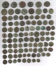 Roman Empire - 100 bronze coins minted between the 3rd and 4th centuries A.D