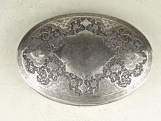 Black silver box with lid, 533 g, signed Rabie - Esfehan / Isfahan, Iran - early 20th century
