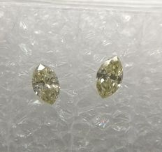Pair of Marquise cut diamonds total 0.26 ct Fancy Light Yellow VVS2-SI1