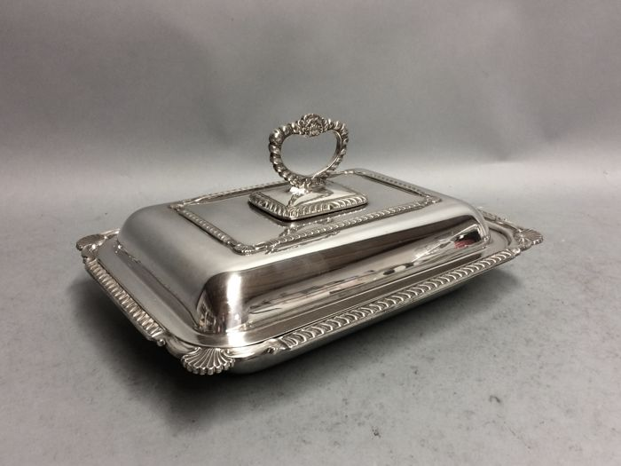 AA Silver plated double serving tray with removable knob, England, ca. 1920