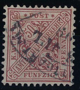 Württemberg - 1890 - 50 Pfg. lively brown red, Michel 211 with photo certificate Thoma BPP