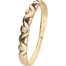 14 kt - Yellow gold ring set with 4 zirconia stones and 3 blue decorative stones - ring size: 18 mm
