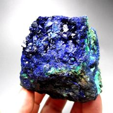 Fine Azurite crystals with Green Malachite specimen - 8 x 7 x 6,5 cm - 310 g