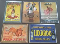 Collection of 7 metal signs/ alcohol Alcoholica - SPUMANTE / MARSALA / CHERRY / BRANDY / VERMOUTH - circa 1980/1990