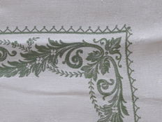 Huge, old damask tablecloth for a large table (3.40 m x 2 m), reversible