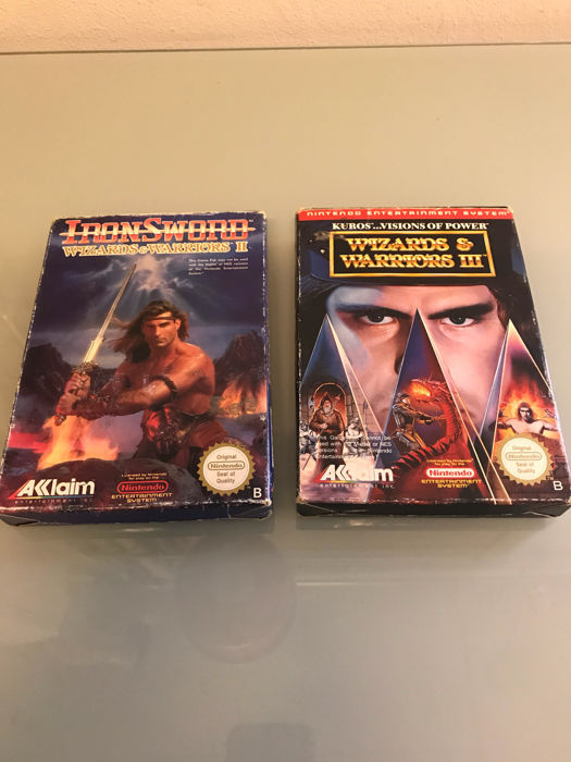 2 boxed NES games -  Wizards & Warriors part 2 and 3 - noe pal b