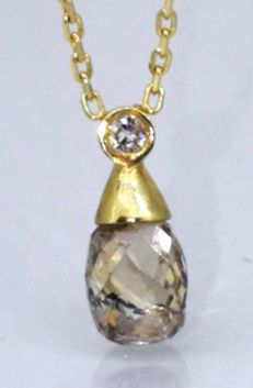 Pendant decorated by a  unique briolet cut diamond 0.90 ct &  A White diamond*** No minimum price***