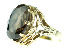 14 kt gold ring, set with a smoky topaz, large model, ring size 18.5