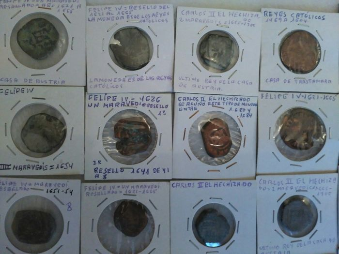 Spain – Lot of 80 coins from Spanish colonies from the House of Austria, 1500-1700 AD – Europe