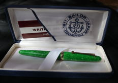 Sailor Magellan rollerpen. Jade green marble celluloid. New in Box.  Mint condition
