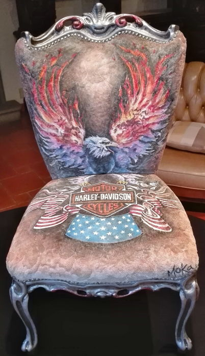Harley Davidson - hand painted chair, signed by the artist Moka - 2015