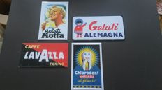 Collection of 4 metal signs - LAVAZZA / GELATI MOTTA and ALEMANIA / CHLORODONT - circa 1980/1990