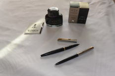 Parker 45 fountain pen and Ballpoint set + Parker ink bottle