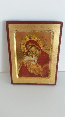 Lithographic icon in Byzantine from Greece
