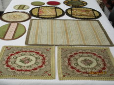 Lot of eleven retro decorative cloths of silk - velvet and brocade.