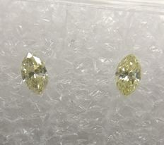 Pair of Marquise cut diamonds total 0.24 ct Fancy Light Yellow Si1-SI2