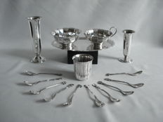 Silver plated items: E.P.N.S. Creamer set: Zilfa Pleet vase: Keltum Pleet vase and flower spoons.