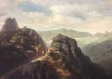 German School (19th century) - Sentiero di montagna con figure