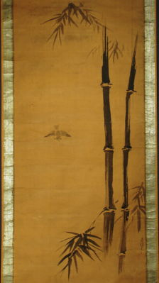 """Antique hanging scroll - """"Bamboo and Sparrow"""" - signed Tsunenobu - Japan - Late 17th century (Early Edo Period)"""