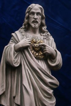 great robust holy statue or Jesus Christ proposed holy heart sculpture , stoneware / clay , France ,1900 , approx 1900 , comes from a Flemish monastery