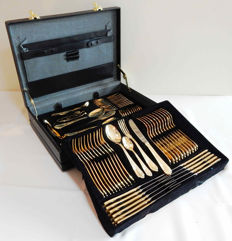 SBS Solingen Wien - Cutlery set for 12 people stainless steel 18/10 gold plated 23/24 carat - 70 pieces