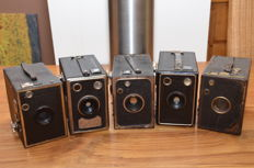 Five 6 x 9 box cameras from the fifties, a Balda Rollbox, twice the Eho-altissa and two without brand