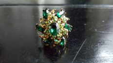 Hollycarft green vintage  flower cocktail  ring