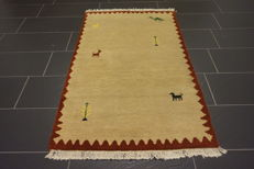 Handwoven carpet Gabbeh made by nomads, carpet, wool on wool made in India 90 X 160 cm like new