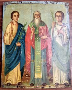 Russian icon (late 19th) - Three saints: Flor, Vlasiy and Panteleon (28,6 x 23 cm)
