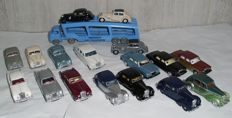 Oxford / Matchbox - Scale 1/76 - Lot with 17 models: Bentley, Daimler, Jaguar & Bedford Car Transporter