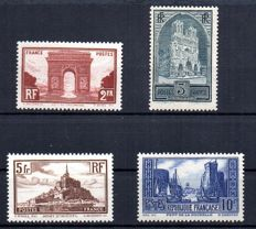 France 1929 – Monuments and Sites – Yvert no. 258, 259, 260 and 261.