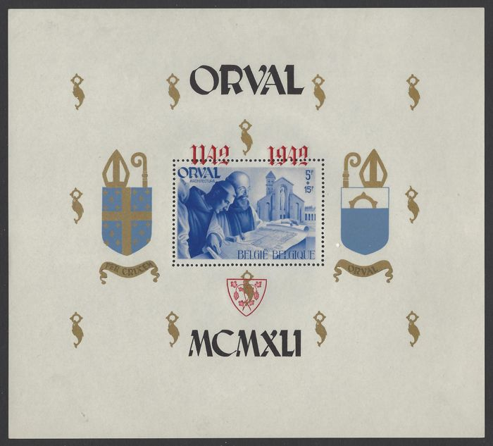 Belgium 1942 - Large block Orval with shifted red overprint on perforated block - OBP number BL24