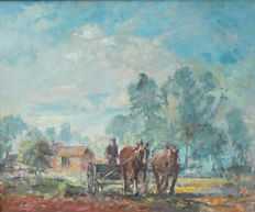 Unknown (20th century)  - Boer met paardenkar