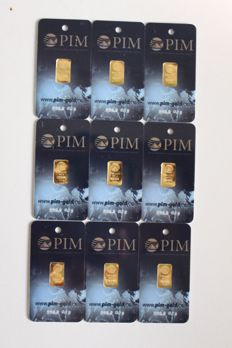 Pure gold 9 bars, 0.10 g each, 999.9/1000 24 ct