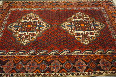 Antique Persian carpet Afshari 145 × 190 cm made in Iran, natural dyes