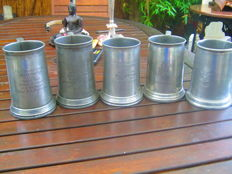 5 x Victorian beer tankards with glass bottoms, awarded for shooting for Surrey Rifles