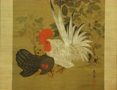 """Antique hanging scroll - """"Chickens and Peonies"""" signed Okyo - Japan - ca. 1770 (Edo Period)"""