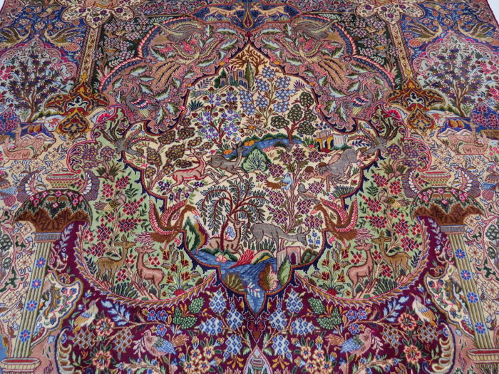 Wonderfully beautiful Persian carpet images Kashmar / Iran 398 x 300 cm Paradise-nature pattern, end of the 20th century ***Top professional organic cleaning*** Top Condition